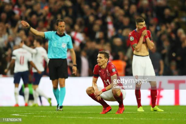 David Pavelka and Ondrej Celustka of the Czech Republic look dejected during the 2020 UEFA European Championships Group A qualifying match between...