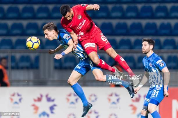 David Pavelka of Kasimpasa AS Deniz Kadah of Antalyaspor AS during the Turkish Spor Toto Super Lig match between Kasimpasa AS and Antalyaspor AS at...