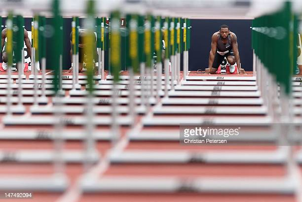David Payne gets set on the starting block before the Men's 110 Meter Hurdles SemiFinal on day nine of the US Olympic Track Field Team Trials at the...