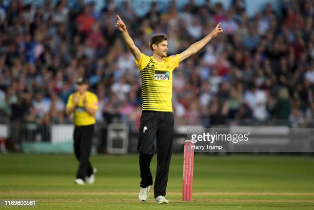 David Payne of Gloucestershire celebrates after taking the wicket of Tom Banton of Somerset during the Vitality Blast match between Gloucestershire...