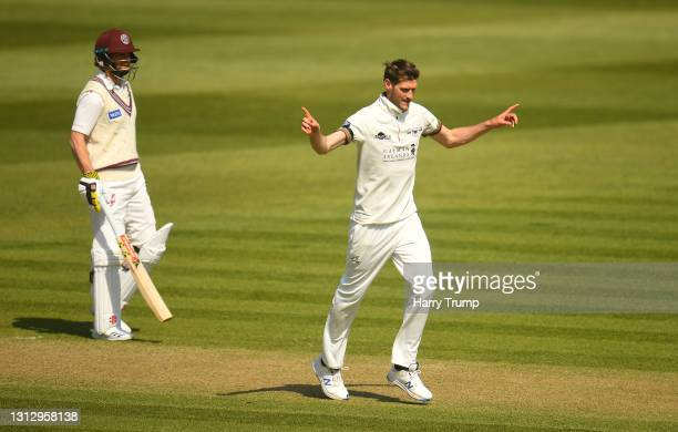 David Payne of Gloucestershire celebrates after taking the wicket of Steve Davies of Somerset during Day Three of the LV= Insurance County...