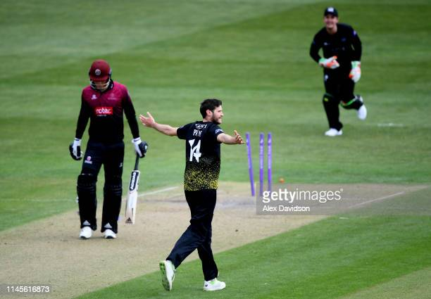 David Payne of Gloucestershire celebrates the wicket of Tom Banton of Somerset during the Royal London One Day Cup match between Gloucestershire and...