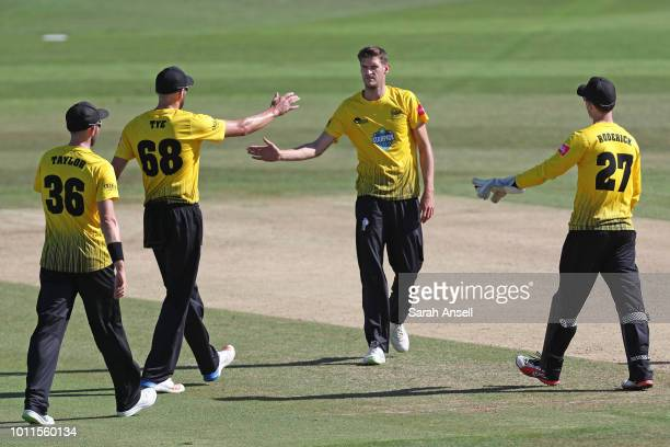 David Payne of Gloucestershire celebrates with teammates after dismissing Alex Blake of Kent Spitfires during the Vitality Blast match between Kent...