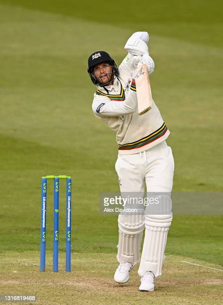 David Payne of Gloucestershire hits out during Day Two of the LV= Insurance County Championship match between Middlesex and Gloucestershire during at...