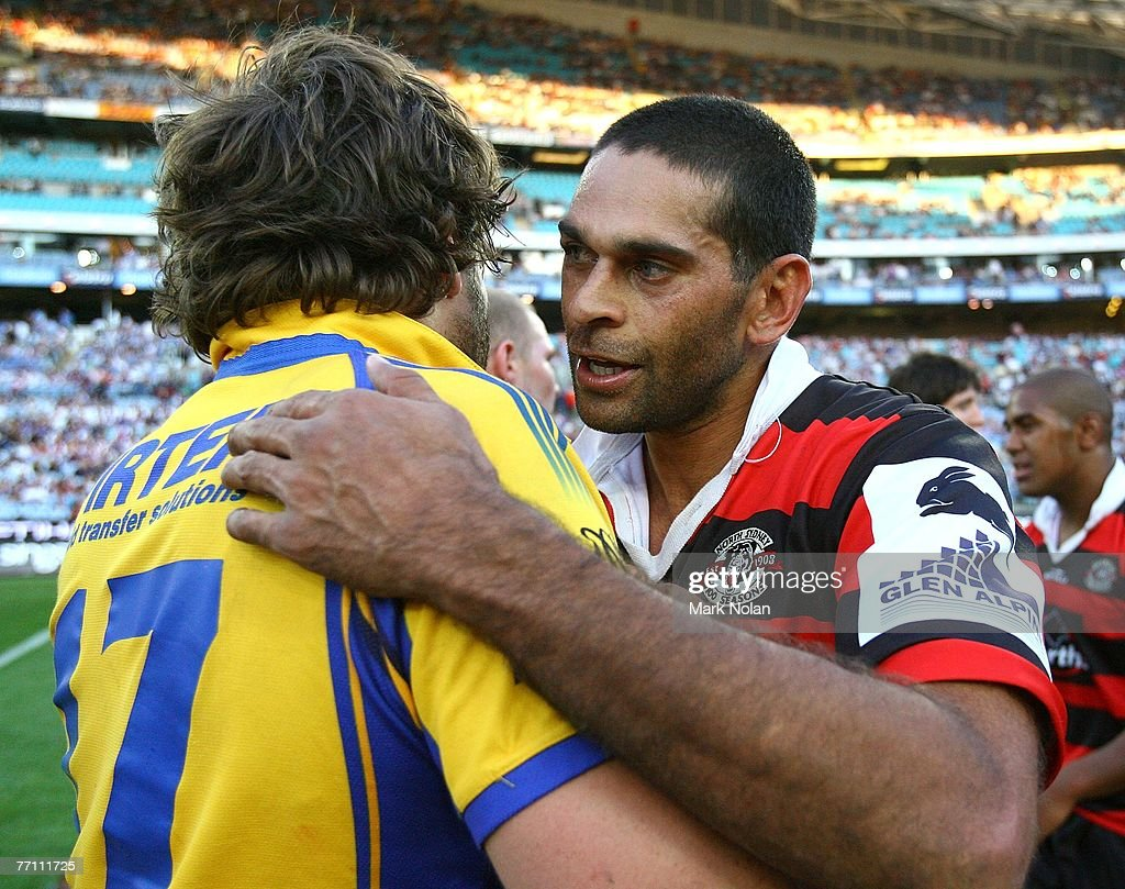 David Peachey (R) of the Bears congratulates Aaron Wood of the Eels after the 2007 Premier League Grand Final between the Parramatta Eels and the North Sydney Bears at Telstra Stadium September 30, 2007 in Sydney, Australia.
