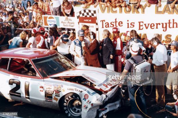 David Pearson explains in victory lane how he managed to get his thoroughly crashed Mercury across the finish line to win the 1976 Daytona 500...