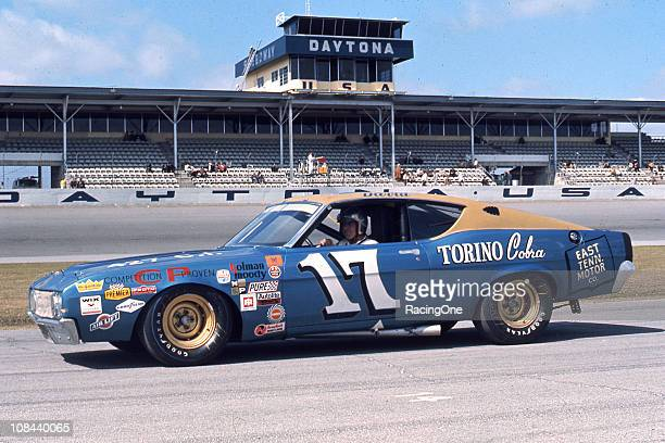 David Pearson with the HolmanMoody Ford Torino Cobra at Daytona International Speedway Pearson took sixth in the Daytona 500 and bettered that finish...