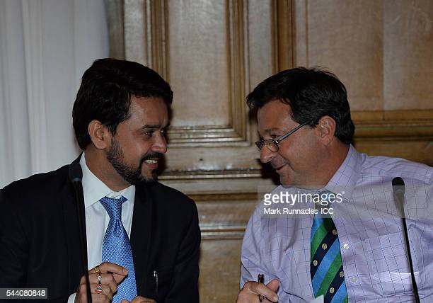 David Peever of Australia talks with Anurag Thakur of India during a meeting of the ICC Board at The Waldorf Astoria The Caledonian on July 1 2016 in...
