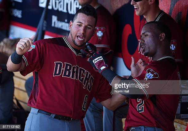 David Peralta and Jean Segura of the Arizona Diamondbacks prepare for a game against the Cincinnati Reds at Goodyear Ballpark on March 20 2016 in...