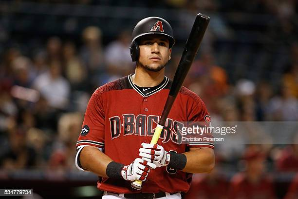 David Peralta of the Arizona Diamondbacks at bat during the MLB game against the Pittsburgh Pirates at Chase Field on April 24 2016 in Phoenix Arizona