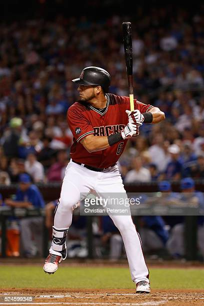 David Peralta of the Arizona Diamondbacks bats against the Chicago Cubs during the MLB game at Chase Field on April 10 2016 in Phoenix Arizona