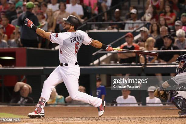 David Peralta of the Arizona Diamondbacks bats against the Colorado Rockies during the MLB game at Chase Field on July 2 2017 in Phoenix Arizona The...