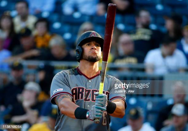 David Peralta of the Arizona Diamondbacks bats against the Pittsburgh Pirates at PNC Park on April 22 2019 in Pittsburgh Pennsylvania