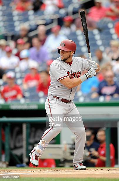 David Peralta of the Arizona Diamondbacks bats against the Washington Nationals at Nationals Park on August 6 2015 in Washington DC