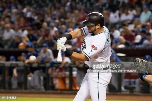 David Peralta of the Arizona Diamondbacks bats during a game against the Los Angeles Dodgers at Chase Field on August 29 2017 in Phoenix Arizona