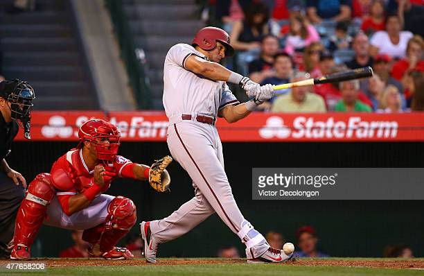 David Peralta of the Arizona Diamondbacks bats in the third inning during the MLB game against the Los Angeles Angels of Anaheim at Angel Stadium of...