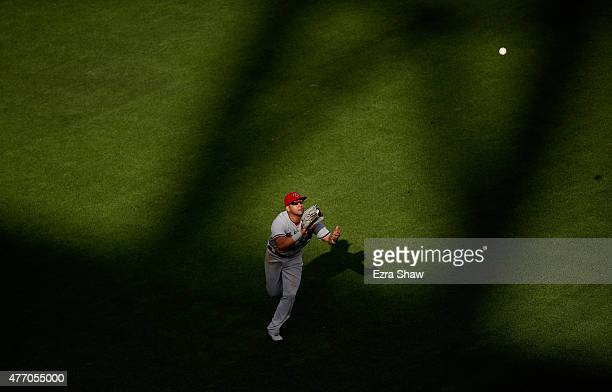 David Peralta of the Arizona Diamondbacks catches a fly ball hit by Angel Pagan of the San Francisco Giants in the sixth inning at ATT Park on June...