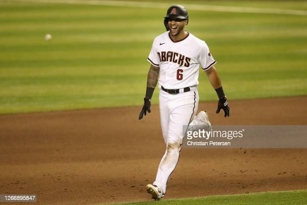 David Peralta of the Arizona Diamondbacks celebrates after a walk-off RBI single against the Oakland Athletics during the ninth inning of the MLB...