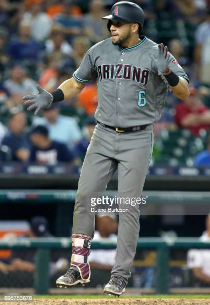 David Peralta of the Arizona Diamondbacks celebrates after hitting a solo home run in the ninth inning to beat the Detroit Tigers 76 at Comerica Park...