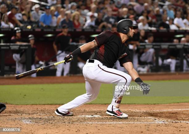 David Peralta of the Arizona Diamondbacks drives in a run during the fifth inning against the Philadelphia Phillies at Chase Field on June 24 2017 in...