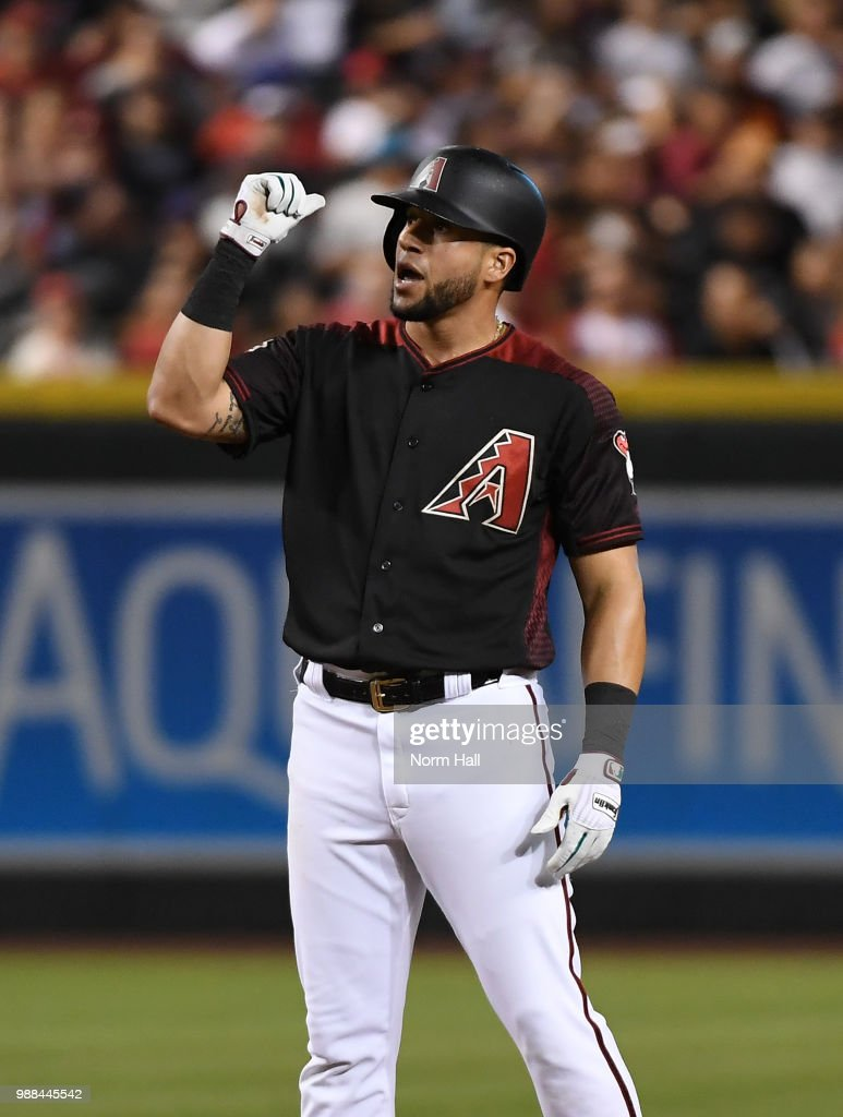 David Peralta #6 of the Arizona Diamondbacks gestures after hitting a double during the fourth inning against the San Francisco Giants at Chase Field on June 30, 2018 in Phoenix, Arizona.