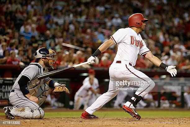 David Peralta of the Arizona Diamondbacks hits a double against the San Diego Padres during the third inning of the MLB game at Chase Field on June...