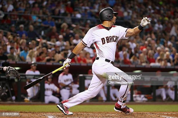 David Peralta of the Arizona Diamondbacks hits a RBI on a fielder's choice against the Colorado Rockies during the third inning of the MLB game at...