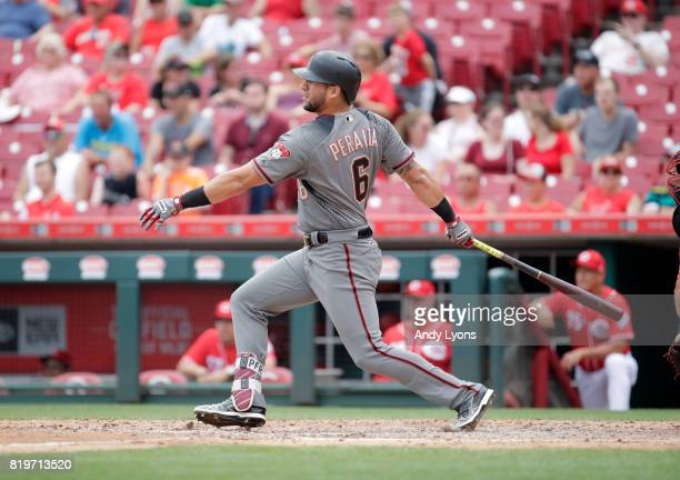 David Peralta of the Arizona Diamondbacks hits a single in the 9th inning against the Cincinnati Reds at Great American Ball Park on July 20 2017 in...