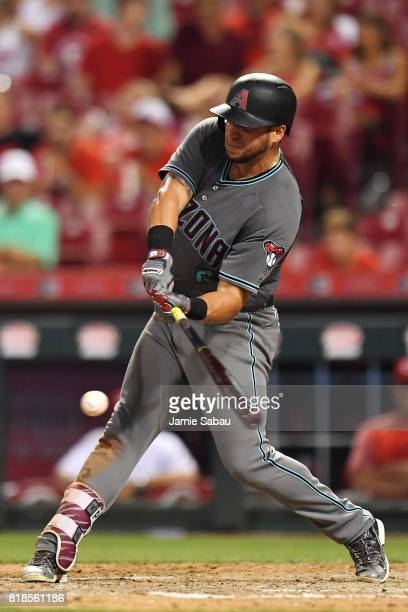 David Peralta of the Arizona Diamondbacks hits a single in the eighth inning against the Cincinnati Reds at Great American Ball Park on July 18 2017...