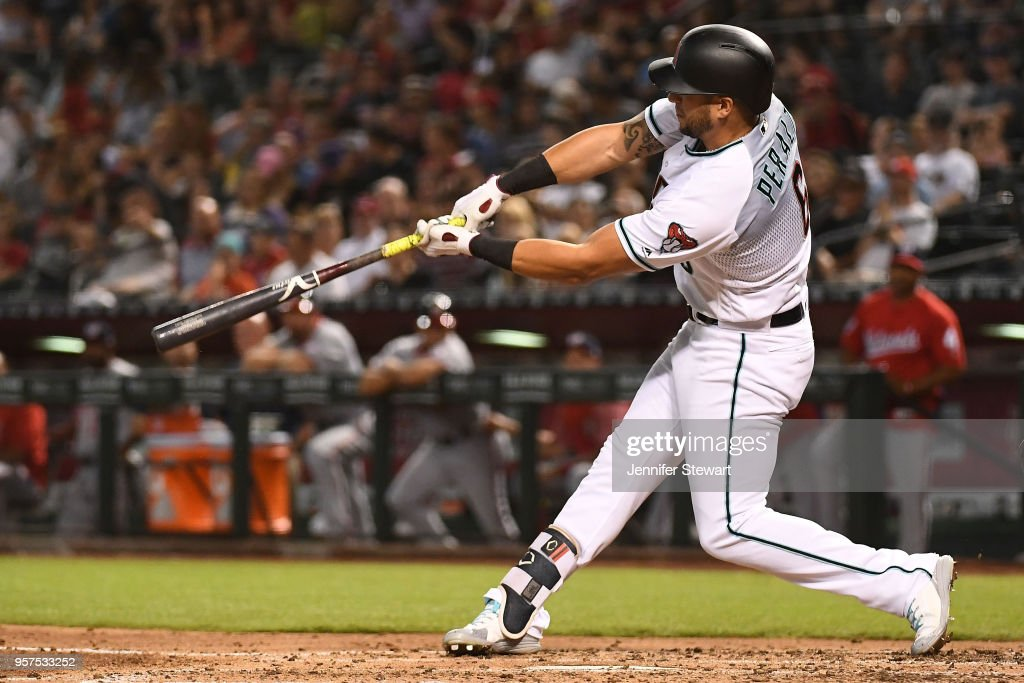 David Peralta #6 of the Arizona Diamondbacks hits a solo home run in the third inning of the MLB game against the Washington Nationals at Chase Field on May 11, 2018 in Phoenix, Arizona.