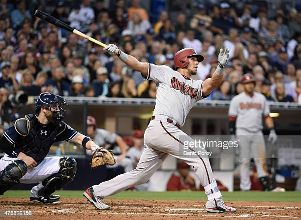 David Peralta of the Arizona Diamondbacks hits an RBI double during the third inning of a baseball game against the San Diego Padres at Petco Park...