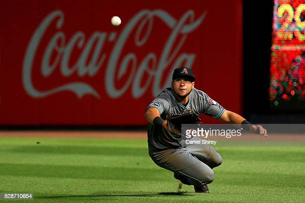 David Peralta of the Arizona Diamondbacks makes a diving catch in the ninth inning against the Atlanta Braves at Turner Field on May 6 2016 in...
