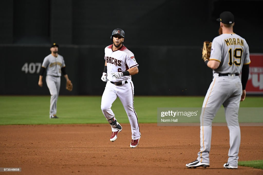 David Peralta #6 of the Arizona Diamondbacks rounds the bases after hitting a two-run home run off of Jameson Taillon of the Pittsburgh Pirates during the first inning at Chase Field on June 13, 2018 in Phoenix, Arizona.