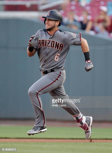 David Peralta of the Arizona Diamondbacks runs to second base for a double in the third inning against the Cincinnati Reds at Great American Ball...