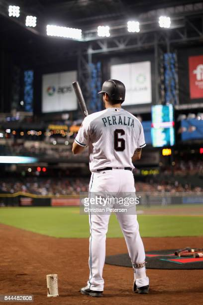 David Peralta of the Arizona Diamondbacks warms up on deck during the first inning of the MLB gameagainst the San Diego Padres at Chase Field on...