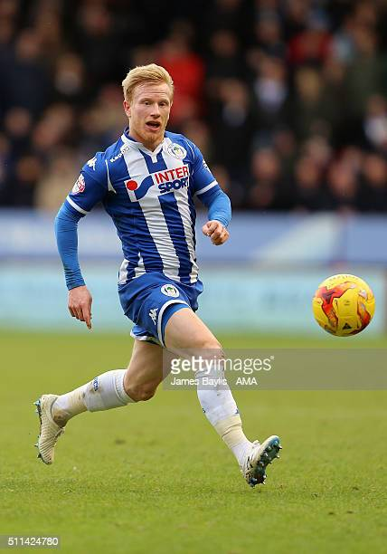 David Perkins of Wigan Athletic during the Sky Bet League One match between Walsall and Wigan Athletic at Bescot Stadium on February 20 2016 in...
