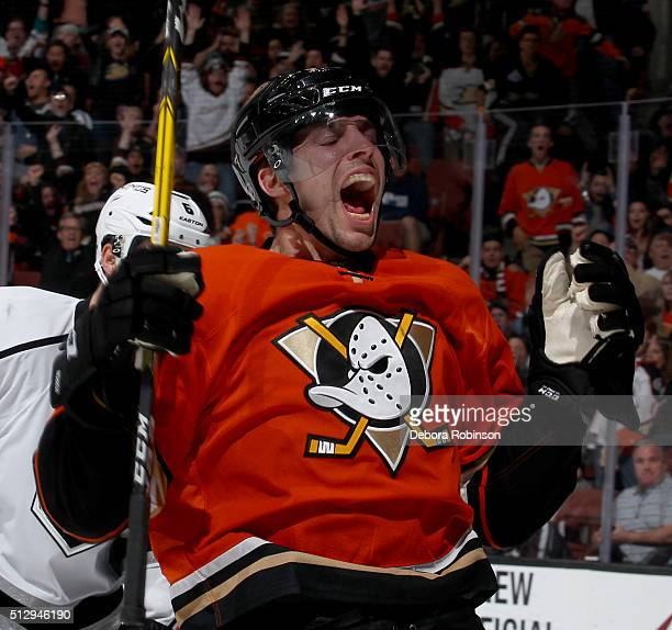 David Perron of the Anaheim Ducks celebrates his third period goal against the Los Angeles Kings on February 28 2016 at Honda Center in Anaheim...