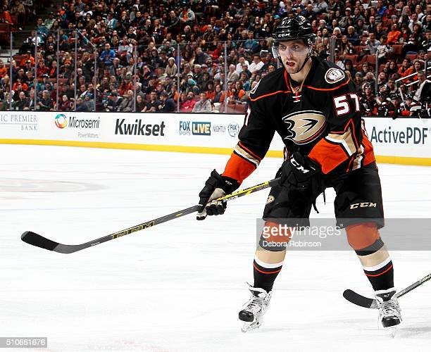 David Perron of the Anaheim Ducks skates during the game against the San Jose Sharks on February 2 2016 at Honda Center in Anaheim California