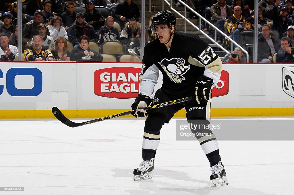 David Perron #57 of the Pittsburgh Penguins skates against the Toronto Maple Leafs at Consol Energy Center on October 17, 2015 in Pittsburgh, Pennsylvania.