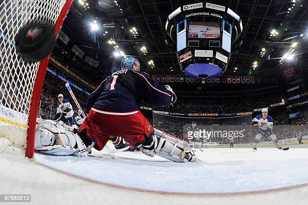David Perron of the St. Louis Blues beats goaltender Steve Mason of the Columbus Blue Jackets during the second period on March 13, 2010 at...