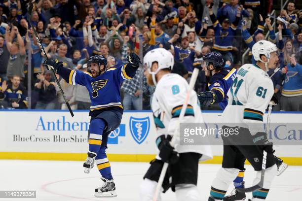 David Perron of the St Louis Blues celebrates after scoring a goal on Martin Jones of the San Jose Sharks during the second period in Game Three of...