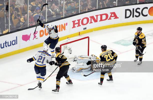 David Perron of the St. Louis Blues celebrates his third period goal against Tuukka Rask of the Boston Bruins in Game Five of the 2019 NHL Stanley...