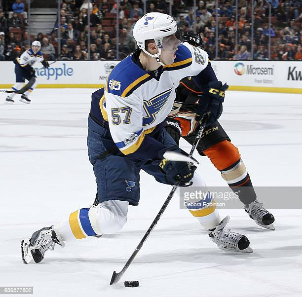 David Perron of the St Louis Blues handles the puck during the game against the Anaheim Ducks on January 15 2017 at Honda Center in Anaheim California