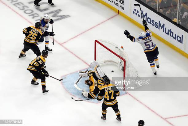 David Perron of the St Louis Blues scores a third period goal past Tuukka Rask of the Boston Bruins in Game Five of the 2019 NHL Stanley Cup Final at...