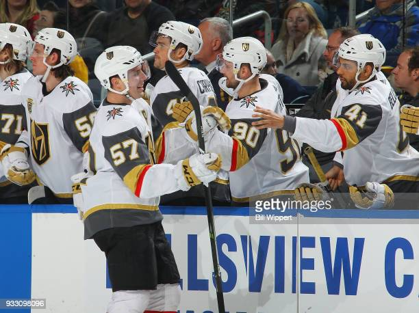 David Perron of the Vegas Golden Knights celebrates a goal during an NHL game against the Buffalo Sabres on March 10 2018 at KeyBank Center in...