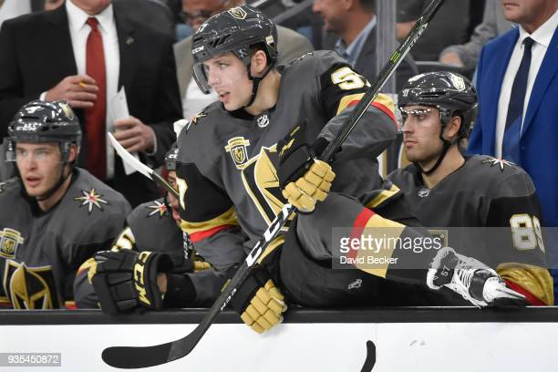 David Perron of the Vegas Golden Knights gets set to make a line change against the Vancouver Canucks during the game at TMobile Arena on March 20...