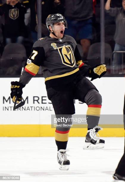 David Perron of the Vegas Golden Knights reacts after his game winning goal against the Buffalo Sabres at TMobile Arena on October 17 2017 in Las...