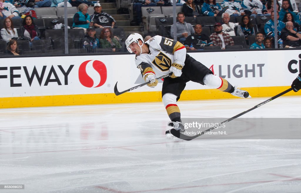 David Perron #57 of the Vegas Golden Knights shoots the puck against the San Jose Sharks at SAP Center on September 21, 2017 in San Jose, California.