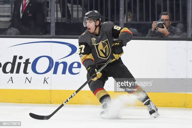 David Perron of the Vegas Golden Knights skates with the puck against the Pittsburgh Penguins during the game at TMobile Arena on December 14 2017 in...