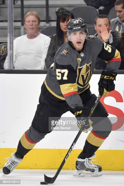David Perron of the Vegas Golden Knights skates with the puck against the Minnesota Wild during the game at TMobile Arena on March 16 2018 in Las...